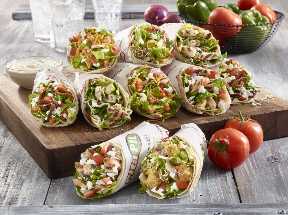 Pita Pit sandwiches cutting board